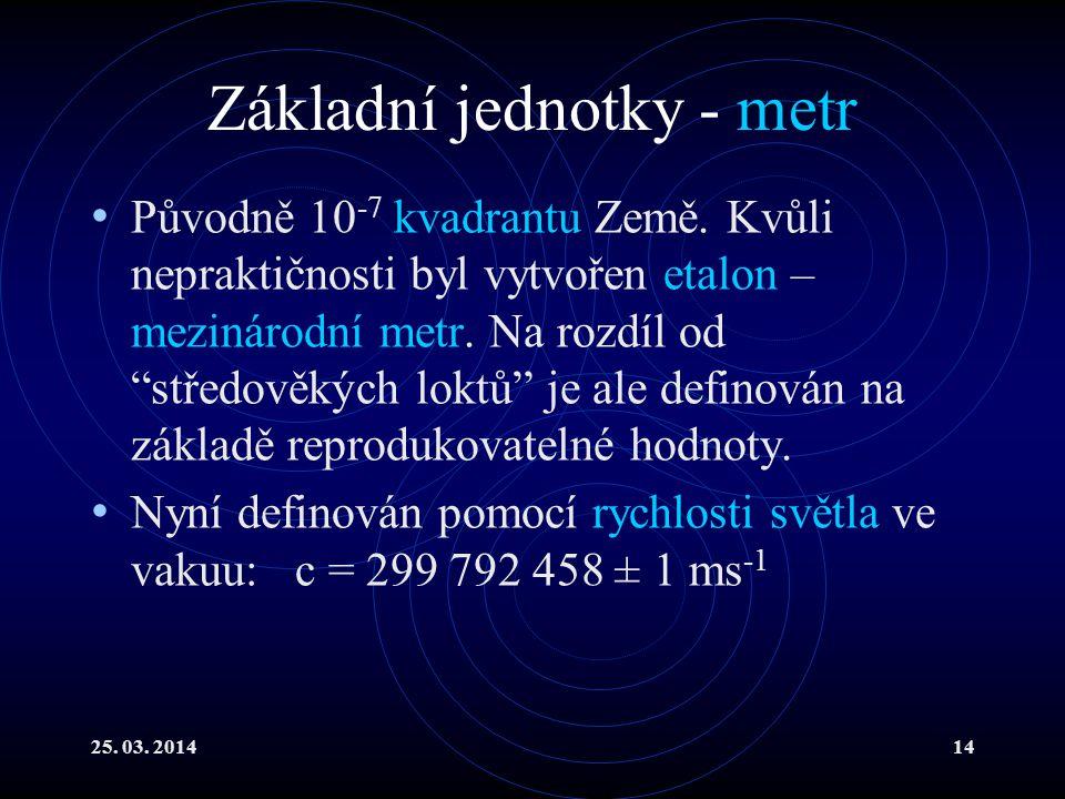 25.03. 201414 Základní jednotky - metr Původně 10 -7 kvadrantu Země.