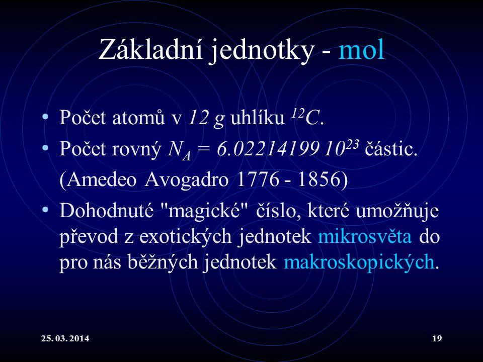 25.03. 201419 Základní jednotky - mol Počet atomů v 12 g uhlíku 12 C.