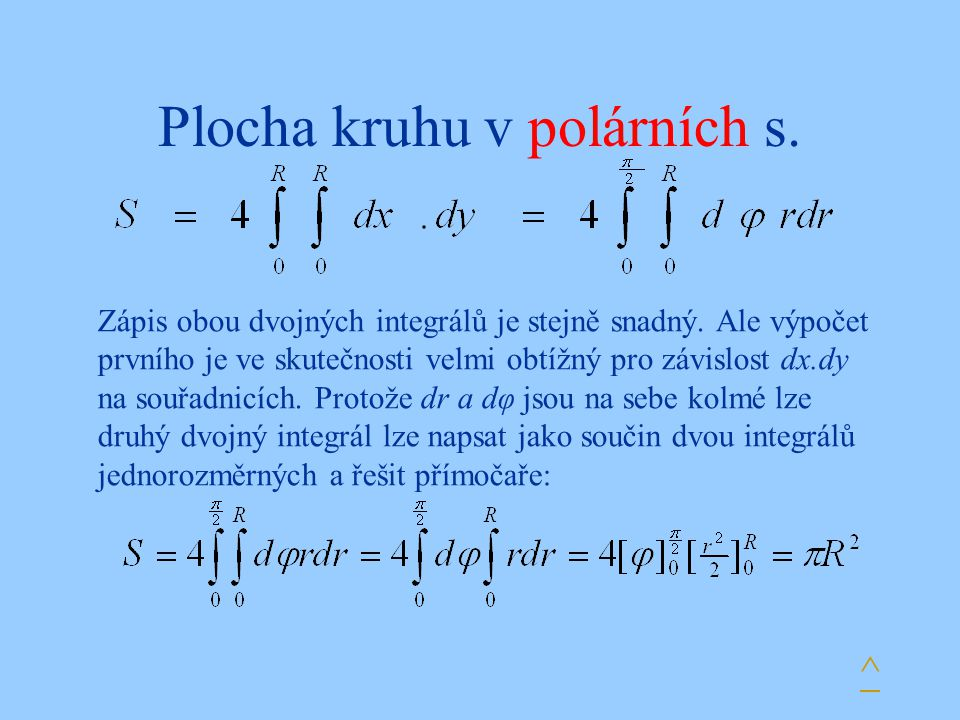 Plocha kruhu v polárních s.^ Zápis obou dvojných integrálů je stejně snadný.