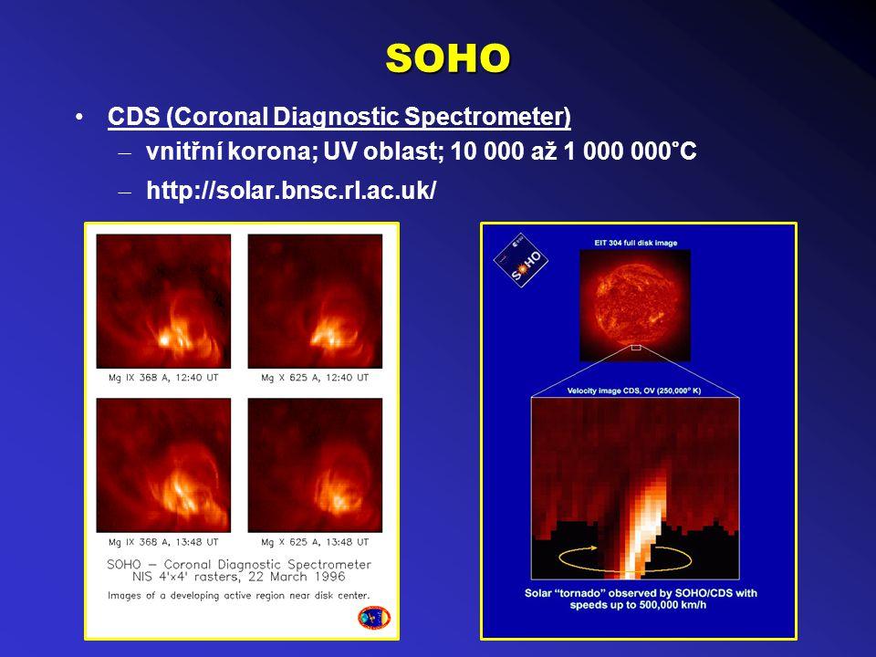 SOHO CDS (Coronal Diagnostic Spectrometer) – vnitřní korona; UV oblast; 10 000 až 1 000 000°C – http://solar.bnsc.rl.ac.uk/