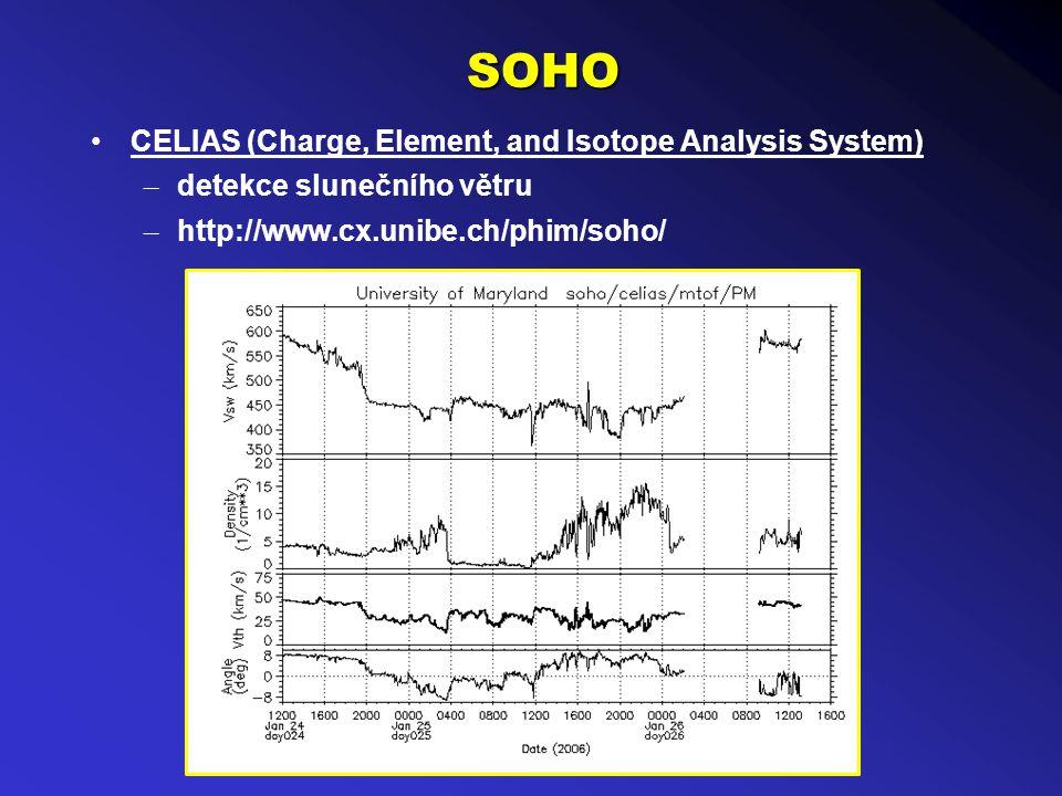 SOHO CELIAS (Charge, Element, and Isotope Analysis System) – detekce slunečního větru – http://www.cx.unibe.ch/phim/soho/