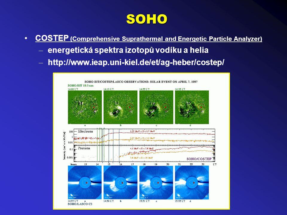SOHO COSTEP (Comprehensive Suprathermal and Energetic Particle Analyzer) – energetická spektra izotopů vodíku a helia – http://www.ieap.uni-kiel.de/et/ag-heber/costep/