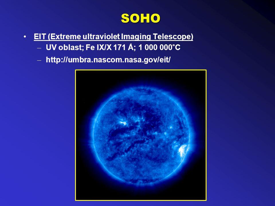 SOHO EIT (Extreme ultraviolet Imaging Telescope) – UV oblast; Fe IX/X 171 Å; 1 000 000°C – http://umbra.nascom.nasa.gov/eit/
