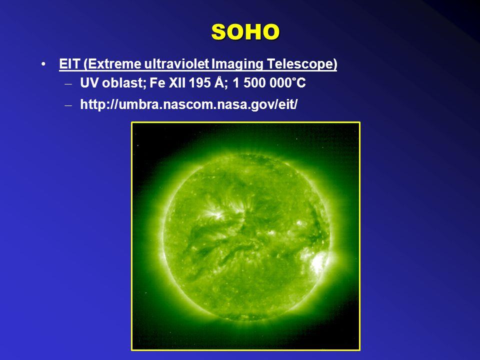 SOHO EIT (Extreme ultraviolet Imaging Telescope) – UV oblast; Fe XII 195 Å; 1 500 000°C – http://umbra.nascom.nasa.gov/eit/