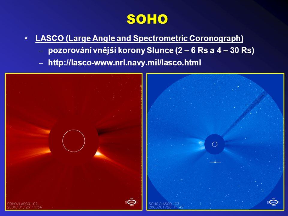 SOHO LASCO (Large Angle and Spectrometric Coronograph) – pozorování vnější korony Slunce (2 – 6 Rs a 4 – 30 Rs) – http://lasco-www.nrl.navy.mil/lasco.html