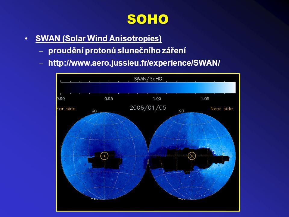 SOHO SWAN (Solar Wind Anisotropies) – proudění protonů slunečního záření – http://www.aero.jussieu.fr/experience/SWAN/