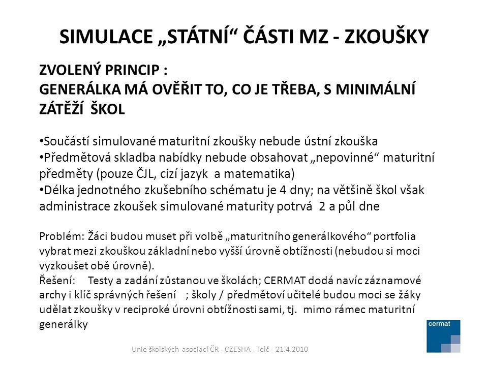 JEDNOTNÉ ZKUŠEBNÍ SCHÉMA ZKOUŠEK SIMULOVANÉ MATURITY 11.-14.10.2010 Unie školských asociací ČR - CZESHA - Telč - 21.4.2010