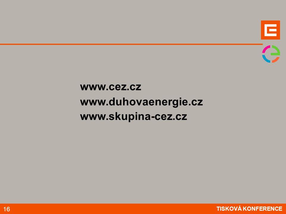 TISKOVÁ KONFERENCE 16 www.cez.cz www.duhovaenergie.cz www.skupina-cez.cz