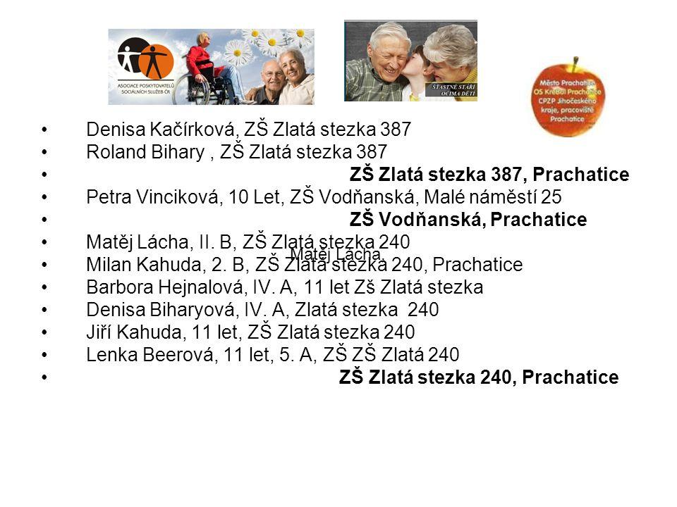 Denisa Kačírková, ZŠ Zlatá stezka 387 Roland Bihary, ZŠ Zlatá stezka 387 ZŠ Zlatá stezka 387, Prachatice Petra Vinciková, 10 Let, ZŠ Vodňanská, Malé n