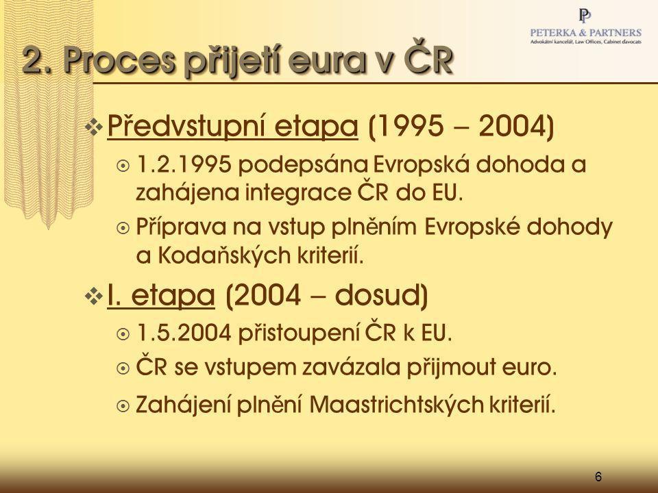 6 2. Proces p ř ijetí eura v ČR  P ř edvstupní etapa (1995 – 2004)  1.2.1995 podepsána Evropská dohoda a zahájena integrace ČR do EU.  P ř íprava n
