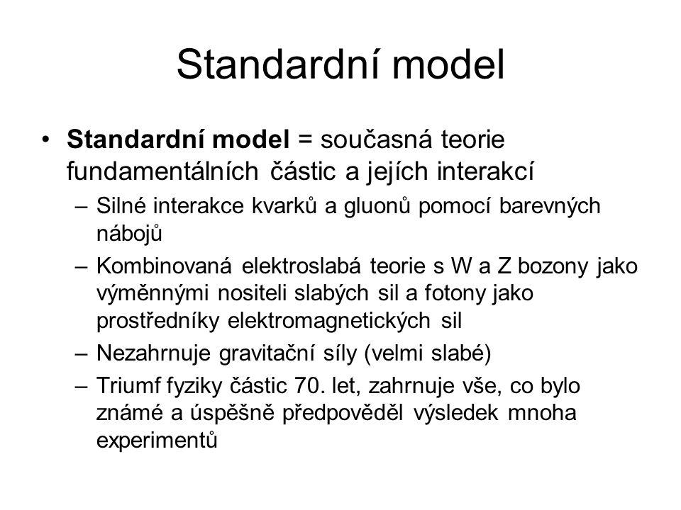 Standardní model Standardní model = současná teorie fundamentálních částic a jejích interakcí –Silné interakce kvarků a gluonů pomocí barevných nábojů –Kombinovaná elektroslabá teorie s W a Z bozony jako výměnnými nositeli slabých sil a fotony jako prostředníky elektromagnetických sil –Nezahrnuje gravitační síly (velmi slabé) –Triumf fyziky částic 70.