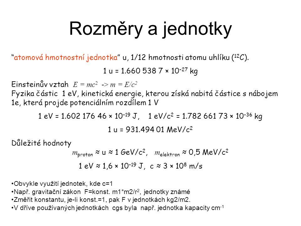 Rozměry a jednotky atomová hmotnostní jednotka u, 1/12 hmotnosti atomu uhlíku ( 12 C).