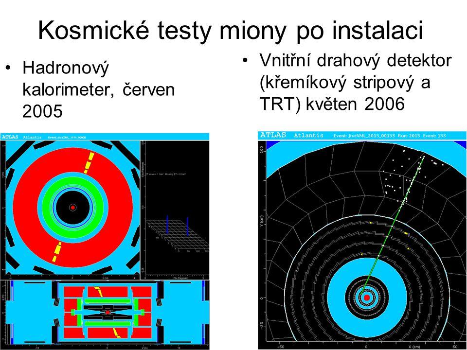 Kosmické testy miony po instalaci Hadronový kalorimeter, červen 2005 Vnitřní drahový detektor (křemíkový stripový a TRT) květen 2006