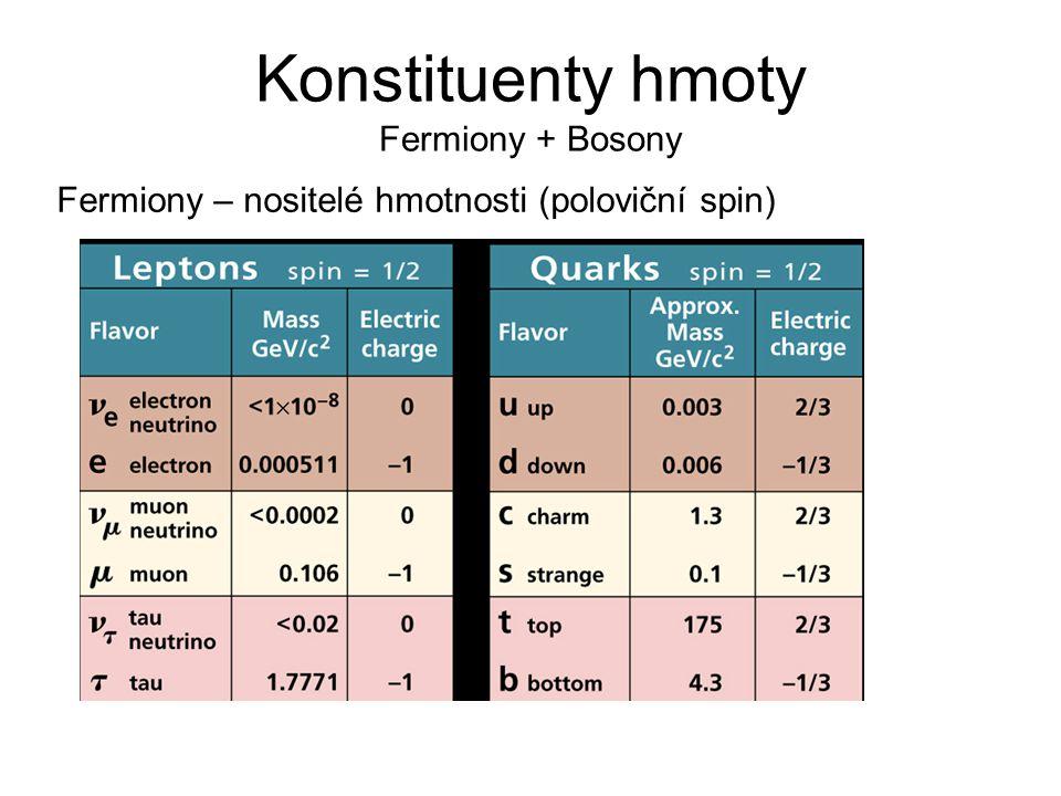 Konstituenty hmoty Fermiony + Bosony Fermiony – nositelé hmotnosti (poloviční spin)