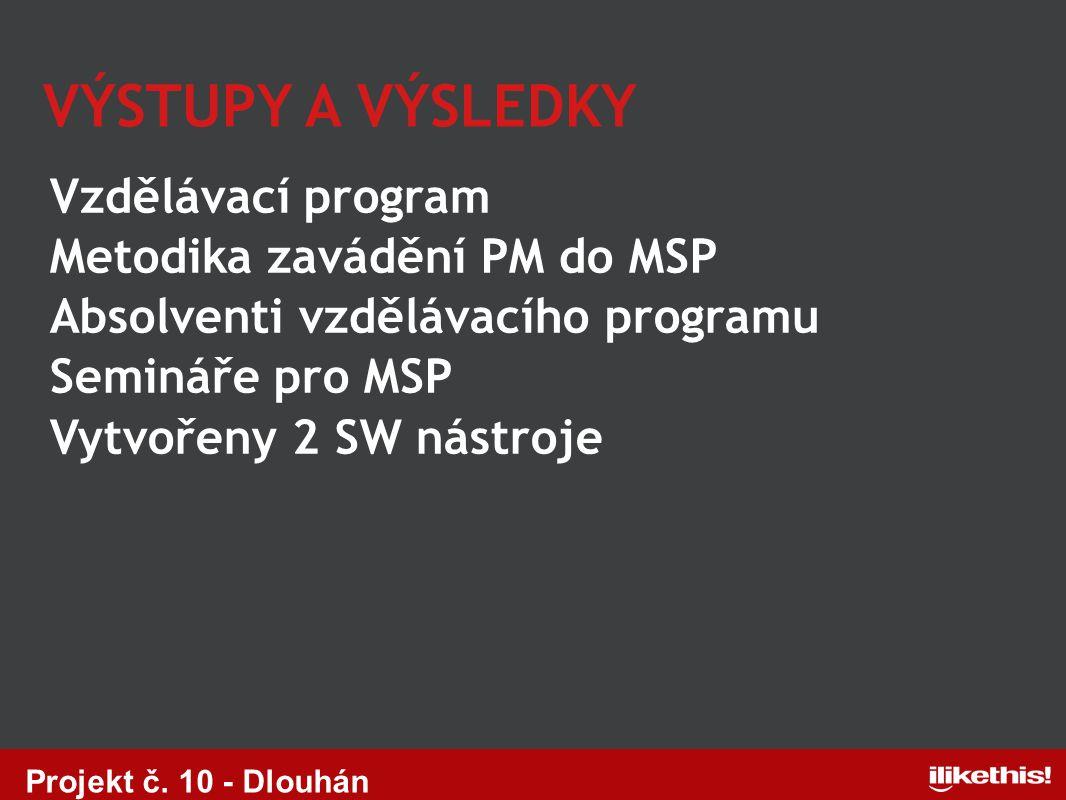 Vzdělávací program Metodika zavádění PM do MSP Absolventi vzdělávacího programu Semináře pro MSP Vytvořeny 2 SW nástroje VÝSTUPY A VÝSLEDKY Projekt č.