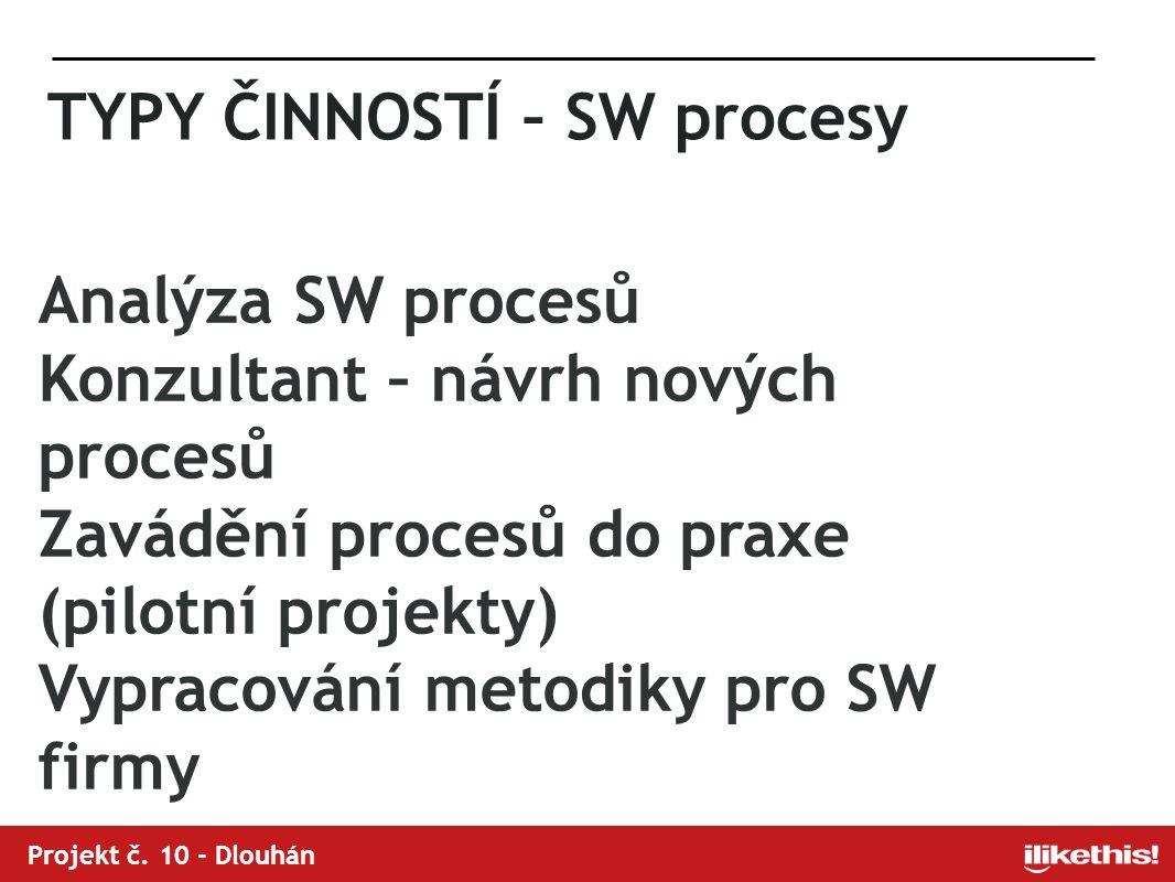 TYPY ČINNOSTÍ – SW procesy Analýza SW procesů Konzultant – návrh nových procesů Zavádění procesů do praxe (pilotní projekty) Vypracování metodiky pro SW firmy Projekt č.