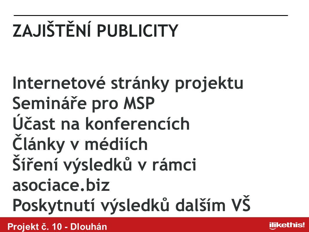 Projekt č. 10 - Dlouhán ZAJIŠTĚNÍ PUBLICITY Internetové stránky projektu Semináře pro MSP Účast na konferencích Články v médiích Šíření výsledků v rám