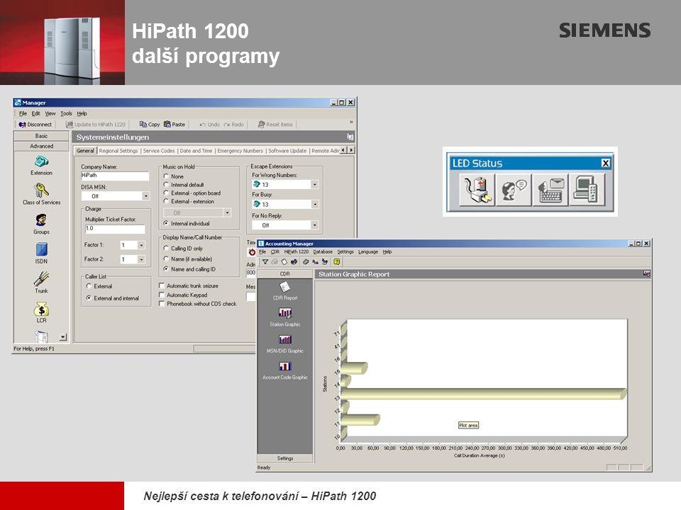 9,825,461,087,64 10,91 6,00 0,00 8,00 Nejlepší cesta k telefonování – HiPath 1200 HiPath 1200 další programy