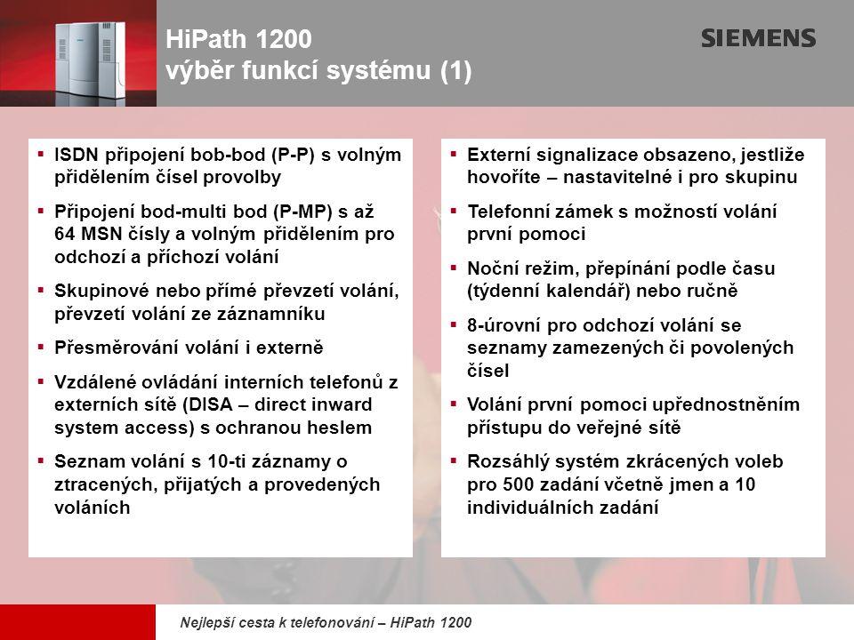 9,825,461,087,64 10,91 6,00 0,00 8,00 Nejlepší cesta k telefonování – HiPath 1200 HiPath 1200 výběr funkcí systému (1)  ISDN připojení bob-bod (P-P)
