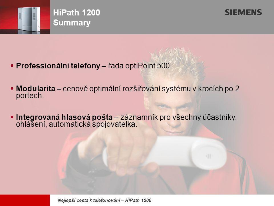9,825,461,087,64 10,91 6,00 0,00 8,00 Nejlepší cesta k telefonování – HiPath 1200  Professionální telefony – řada optiPoint 500.  Modularita – cenov