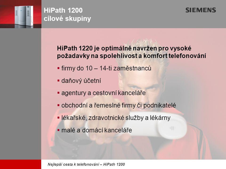 9,825,461,087,64 10,91 6,00 0,00 8,00 Nejlepší cesta k telefonování – HiPath 1200 HiPath 1200 výběr funkcí systému (1)  ISDN připojení bob-bod (P-P) s volným přidělením čísel provolby  Připojení bod-multi bod (P-MP) s až 64 MSN čísly a volným přidělením pro odchozí a příchozí volání  Skupinové nebo přímé převzetí volání, převzetí volání ze záznamníku  Přesměrování volání i externě  Vzdálené ovládání interních telefonů z externích sítě (DISA – direct inward system access) s ochranou heslem  Seznam volání s 10-ti záznamy o ztracených, přijatých a provedených voláních  Externí signalizace obsazeno, jestliže hovoříte – nastavitelné i pro skupinu  Telefonní zámek s možností volání první pomoci  Noční režim, přepínání podle času (týdenní kalendář) nebo ručně  8-úrovní pro odchozí volání se seznamy zamezených či povolených čísel  Volání první pomoci upřednostněním přístupu do veřejné sítě  Rozsáhlý systém zkrácených voleb pro 500 zadání včetně jmen a 10 individuálních zadání