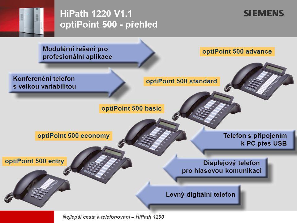 9,825,461,087,64 10,91 6,00 0,00 8,00 Nejlepší cesta k telefonování – HiPath 1200 optiPoint 500 entryoptiPoint 500 basic hlasitý příposlech 8 tlačítek s LED 2 tlačítka nastavení (+/-) displej 2x24 znaků hlasitý příposlech USB 1.1 konektor 1 pozice pro adaptér podpora přídavné konsole 12 tlačítek s LED 3 dialogová tlačítka 2 tlačítka nastavení (+/-) přídavné:optiPoint konsole optiPoint adaptéry optiPoint 500 economy displej 2x24 znaků hlasitý příposlech 12 tlačítek s LED 3 dialogová tlačítka 2 tlačítka nastavení (+/-) HiPath 1200 optiPoint 500 (2)