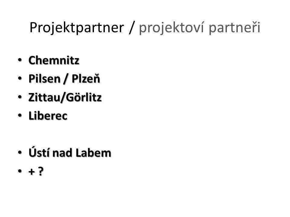 Projektpartner / projektoví partneři Chemnitz Chemnitz Pilsen / Plzeň Pilsen / Plzeň Zittau/Görlitz Zittau/Görlitz Liberec Liberec Ústí nad Labem Ústí