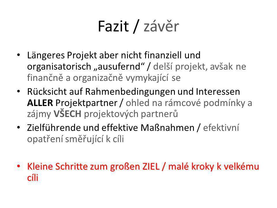 """Fazit / závěr Längeres Projekt aber nicht finanziell und organisatorisch """"ausufernd"""" / delší projekt, avšak ne finančně a organizačně vymykající se Rü"""