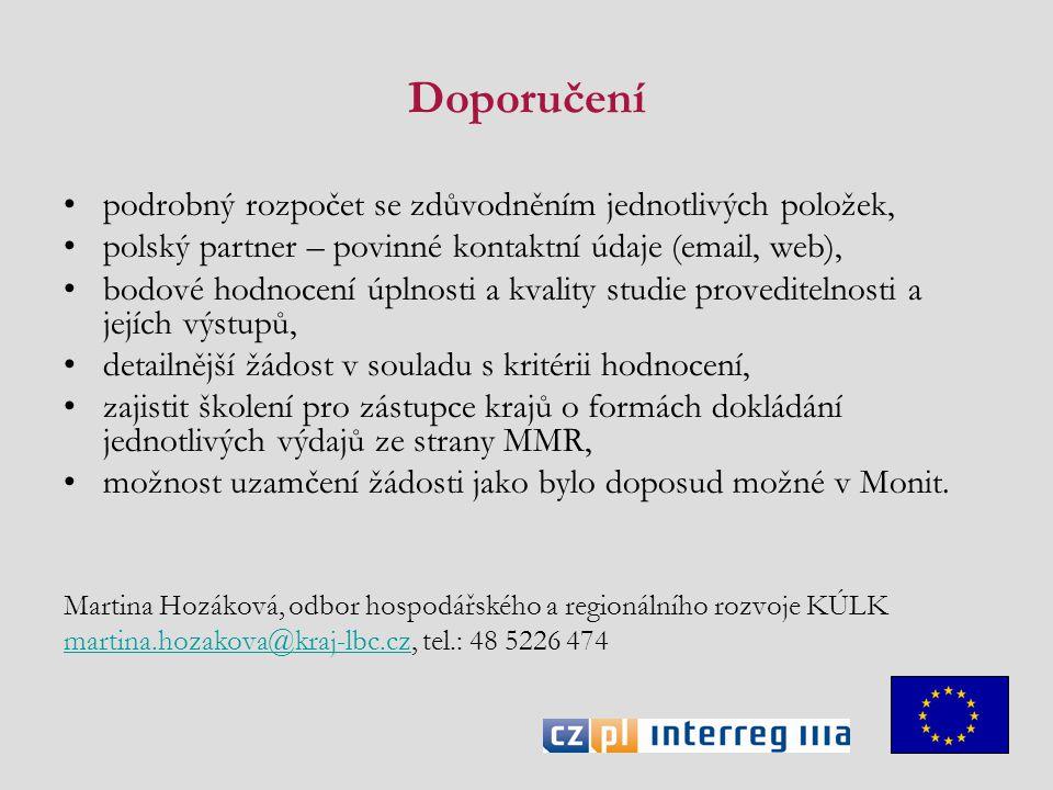 Doporučení podrobný rozpočet se zdůvodněním jednotlivých položek, polský partner – povinné kontaktní údaje (email, web), bodové hodnocení úplnosti a k