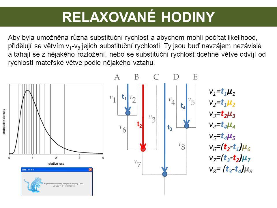 RELAXOVANÉ HODINY Aby byla umožněna různá substituční rychlost a abychom mohli počítat likelihood, přidělují se větvím v 1 -v 8 jejich substituční ryc
