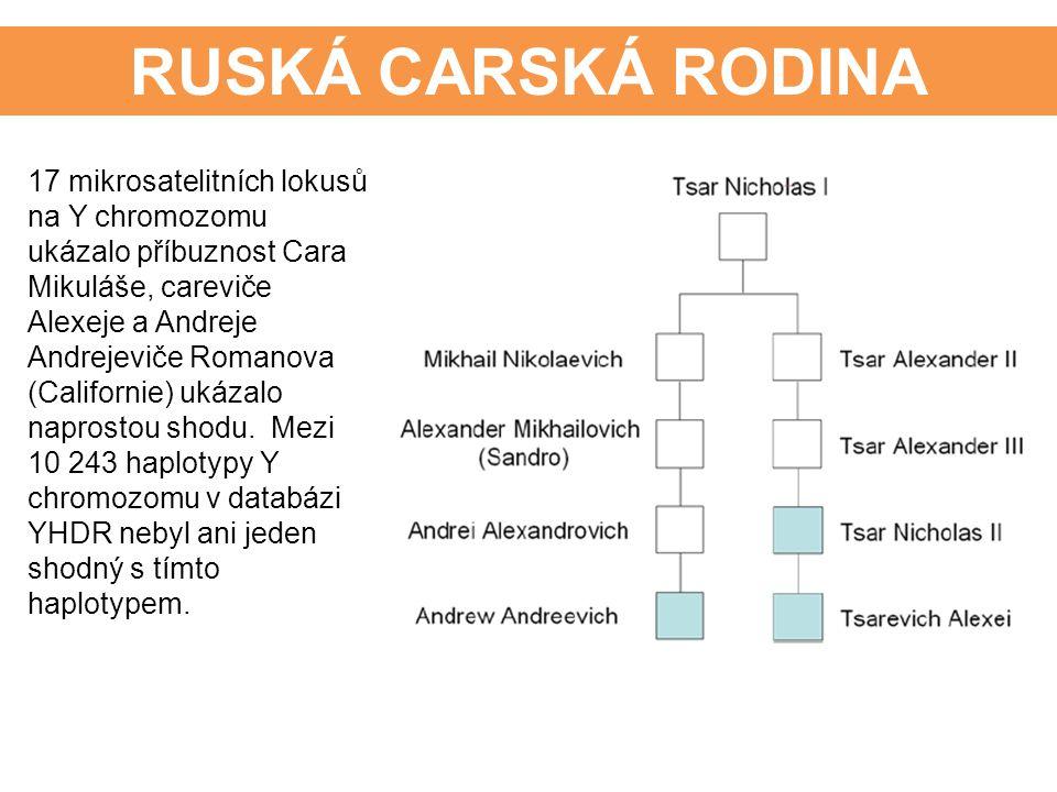 RUSKÁ CARSKÁ RODINA 17 mikrosatelitních lokusů na Y chromozomu ukázalo příbuznost Cara Mikuláše, careviče Alexeje a Andreje Andrejeviče Romanova (Cali