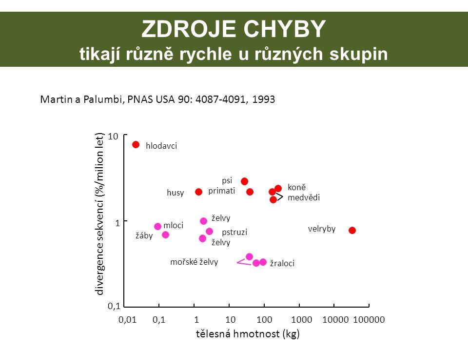 0,010,1110100100010000100000 tělesná hmotnost (kg) divergence sekvencí (%/milion let) 0,1 1 10 medvědi koně psi hlodavci primati husy velryby žáby mlo