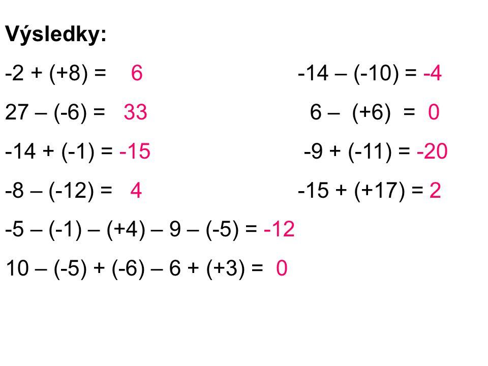 Výsledky: -2 + (+8) = 6 -14 – (-10) = -4 27 – (-6) = 33 6 – (+6) = 0 -14 + (-1) = -15 -9 + (-11) = -20 -8 – (-12) = 4-15 + (+17) = 2 -5 – (-1) – (+4)