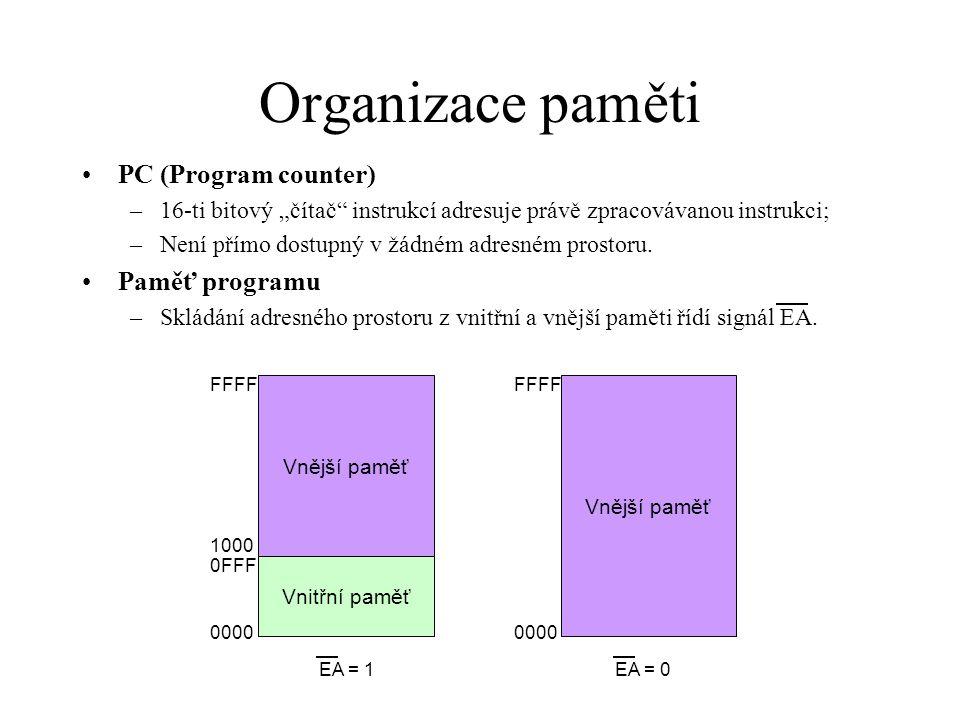 Organizace paměti Datová paměť –To, do které paměti (vnitřní/vnější) se přistupuje, je dáno použitým způsobem adresování – různými instrukcemi Vnější paměť Vnitřní paměť 00 7F FFFF 0000 SFR – registry speciálních funkcí 80 FF Rozšířená vnitřní paměť Nepřímé adresování pomocí DPTR – instrukce MOVX Nepřímé adresování – instrukce MOV Přímé adresování – instrukce MOV