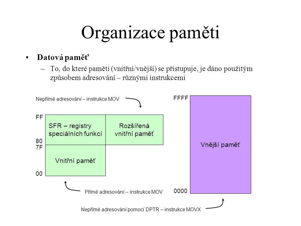 Organizace paměti Datová paměť –To, do které paměti (vnitřní/vnější) se přistupuje, je dáno použitým způsobem adresování – různými instrukcemi Vnější
