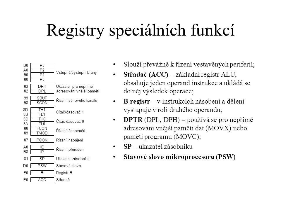 Registry speciálních funkcí Slouží převážně k řízení vestavěných periferií; Střadač (ACC) – základní registr ALU, obsahuje jeden operand instrukce a u
