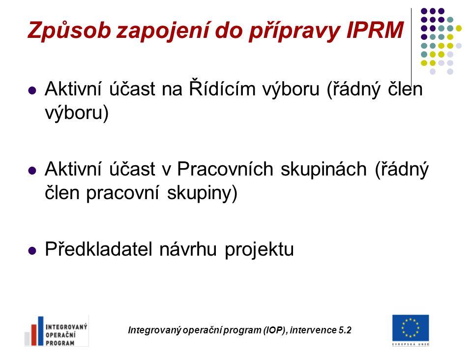 Způsob zapojení do přípravy IPRM Aktivní účast na Řídícím výboru (řádný člen výboru) Aktivní účast v Pracovních skupinách (řádný člen pracovní skupiny