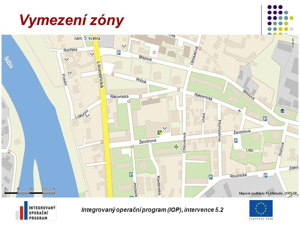 Vymezení zóny Integrovaný operační program (IOP), intervence 5.2