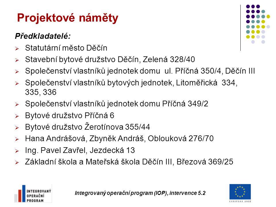Projektové náměty Předkladatelé:  Statutární město Děčín  Stavební bytové družstvo Děčín, Zelená 328/40  Společenství vlastníků jednotek domu ul. P