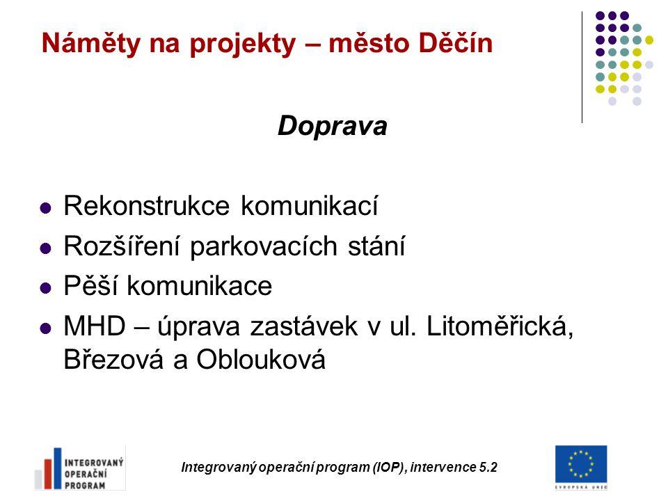 Náměty na projekty – město Děčín Doprava Rekonstrukce komunikací Rozšíření parkovacích stání Pěší komunikace MHD – úprava zastávek v ul. Litoměřická,