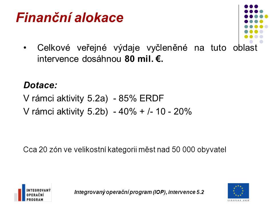 Integrovaný operační program (IOP), intervence 5.2 Celkové veřejné výdaje vyčleněné na tuto oblast intervence dosáhnou 80 mil. €. Dotace: V rámci akti