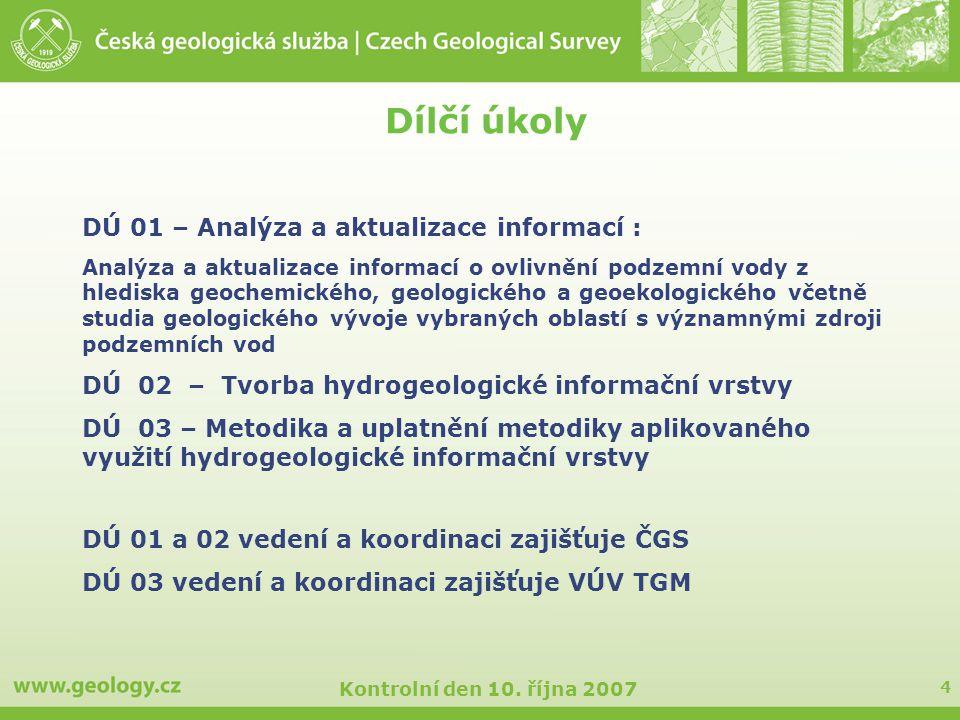 4 Kontrolní den 10. října 2007 Dílčí úkoly DÚ 01 – Analýza a aktualizace informací : Analýza a aktualizace informací o ovlivnění podzemní vody z hledi