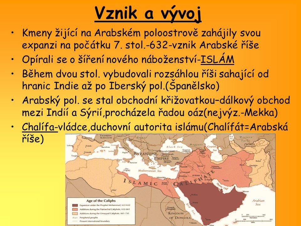 Arabská společnost Život ovlivněn geografickými podmínkami-většinu území tvoří poušť-omezené zemědělství-na jihu lepší podmínky- dnešní Jemen Arabové na severu byli kočovníci,putovali mezi oázami- nazývali se syny pouště-BEDUÍNY Arabové vytvářeli kmeny,v čele byli náčelníci-ŠAJCHOVÉ Nejmocnější kmen v Mekce-Kurajšovci(uctívali zvláštní černý kámen,jenž je zřejmě meteorického původu,ukrývali ho v krychlové stavbě-Kaabě Kaaba Z tohoto rodu pocházel i Mohamed.
