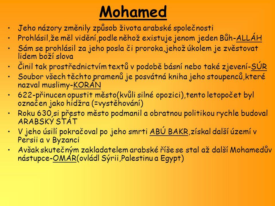 Sunnité a šíité Omar byl zavražděn,stejný osud potkal i jeho nástupce- OSMANA Jeho smrt otevřela spory o vůdčí postavení,tyto spory byli úzce spjaty s náboženstvím i politikou Jedna část muslimů považovala za prorokovy následovníky jen jeho přímé potomky,ti podporovali Mohamedova zetě Alího-nazývali se šíité Druzí zase trvali na platnosti zvyklostí,jež se ujaly po Mohamedově smrti-ti se nazývali sunnité Islám se tak rozštěpil do dvou základních proudů,které vedle sebe existují dodnes