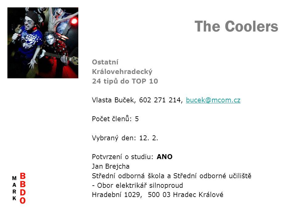The Coolers Ostatní Královehradecký 24 tipů do TOP 10 Vlasta Buček, 602 271 214, bucek@mcom.czbucek@mcom.cz Počet členů: 5 Vybraný den: 12.