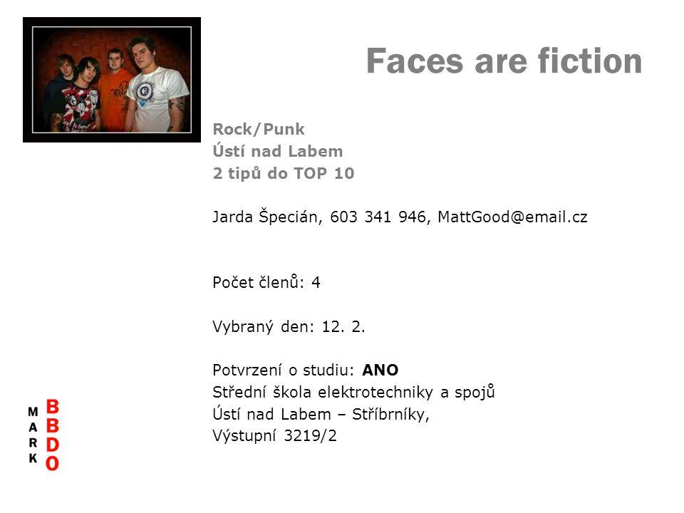 Faces are fiction Rock/Punk Ústí nad Labem 2 tipů do TOP 10 Jarda Špecián, 603 341 946, MattGood@email.cz Počet členů: 4 Vybraný den: 12. 2. Potvrzení