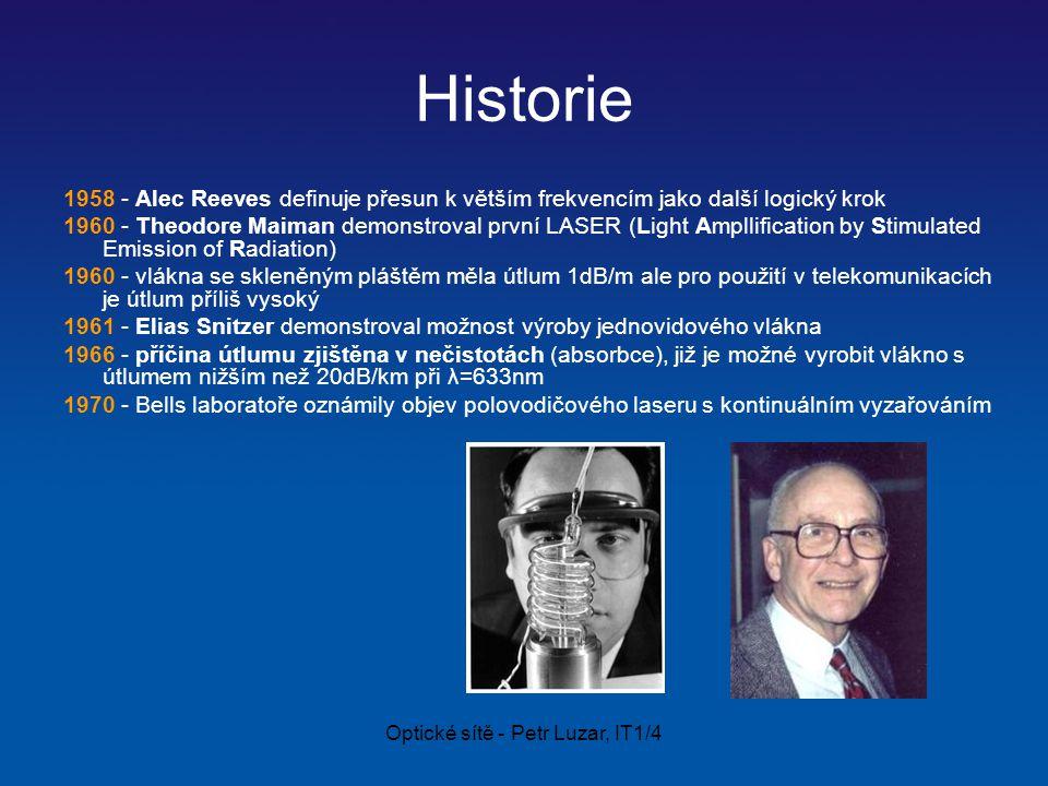 Optické sítě - Petr Luzar, IT1/4 Historie 1958 - Alec Reeves definuje přesun k větším frekvencím jako další logický krok 1960 - Theodore Maiman demonstroval první LASER (Light Ampllification by Stimulated Emission of Radiation) 1960 - vlákna se skleněným pláštěm měla útlum 1dB/m ale pro použití v telekomunikacích je útlum příliš vysoký 1961 - Elias Snitzer demonstroval možnost výroby jednovidového vlákna 1966 - příčina útlumu zjištěna v nečistotách (absorbce), již je možné vyrobit vlákno s útlumem nižším než 20dB/km při λ=633nm 1970 - Bells laboratoře oznámily objev polovodičového laseru s kontinuálním vyzařováním