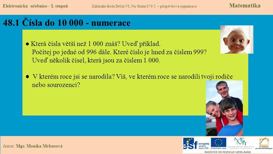 48.1 Čísla do 10 000 - numerace Elektronická učebnice - I. stupeň Základní škola Děčín VI, Na Stráni 879/2 – příspěvková organizace Matematika Autor: