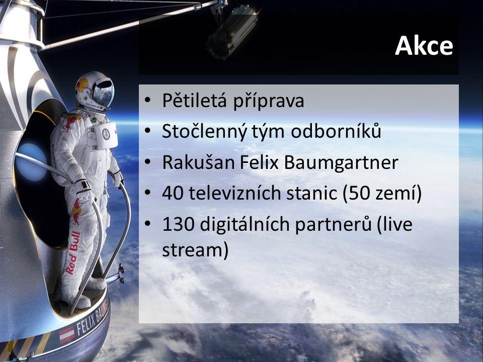 Akce Pětiletá příprava Stočlenný tým odborníků Rakušan Felix Baumgartner 40 televizních stanic (50 zemí) 130 digitálních partnerů (live stream)