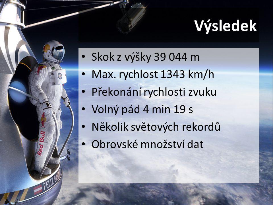 Výsledek Skok z výšky 39 044 m Max. rychlost 1343 km/h Překonání rychlosti zvuku Volný pád 4 min 19 s Několik světových rekordů Obrovské množství dat